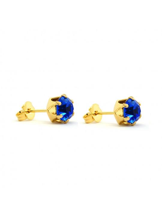 Brinco Horus Import Ponto De Luz Azul topázio Banhado Ouro 18 K - 1030012