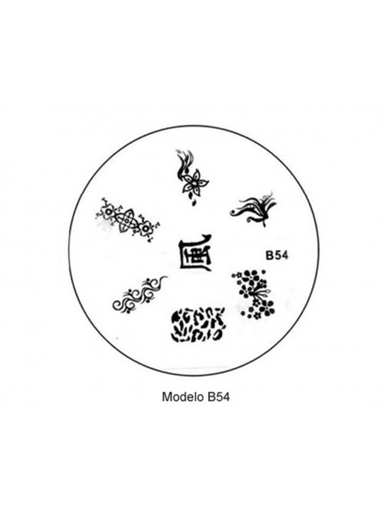 PLACA METÁLICA PARA PERSONALIZAÇÃO DE UNHAS - B54 - DESENHOS ARTÍSTICOS - UNH10018