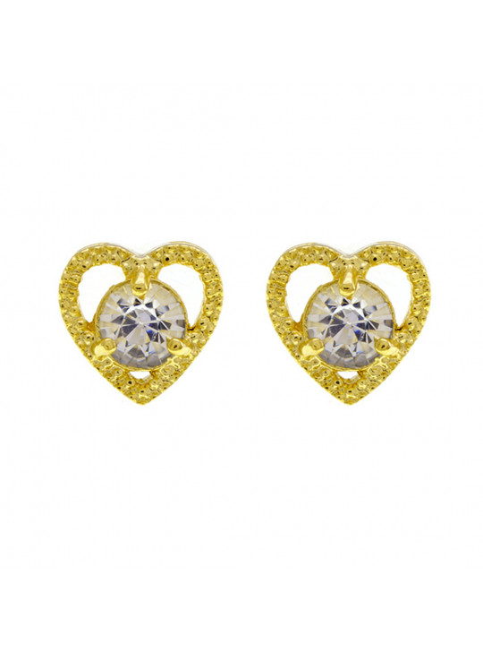 Brinco Ponto Luz Coração Cristal Banhado Ouro Amarelo 18 K - 1031130