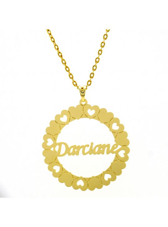 Gargantilha Pingente Mandala Manuscrito  DARCIANE Banho Ouro 18 K - 1060233