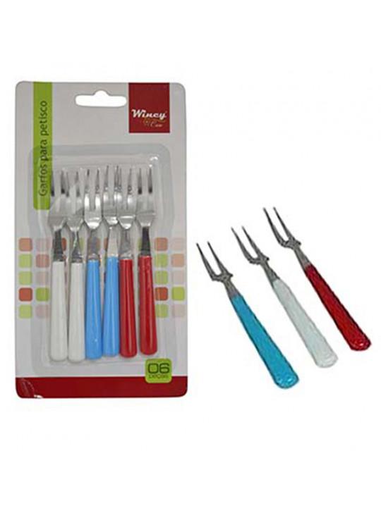 Conjunto com 6 garfos de cabo colorido nas cores: branco, azul e vermelho.