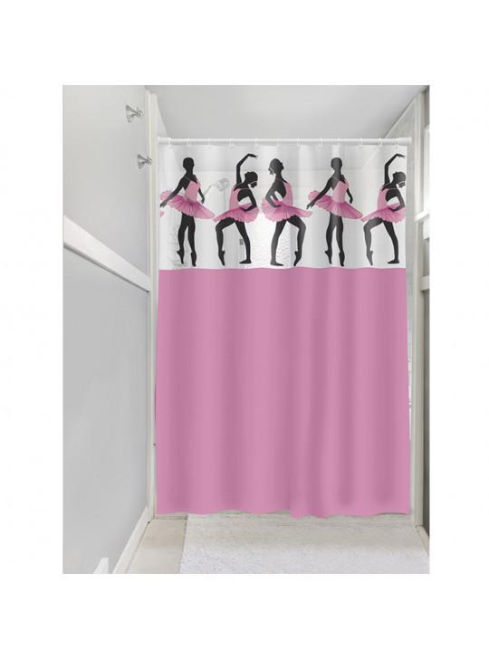 Cortina para Box Banheiro Vinil Visor Bailarinas Plast Leo - DIV20129