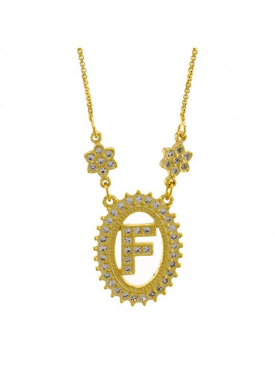 "Colar Letra "" F "" Cravejada Zircônia Banhado Ouro Amarelo 18 K - 1061234"