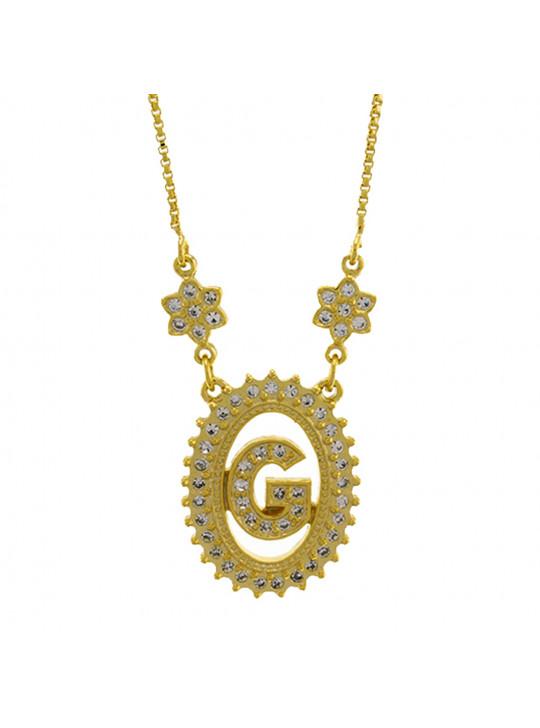 "Colar Letra "" G "" Cravejada Zircônia Banhado Ouro Amarelo 18 K - 1061235"
