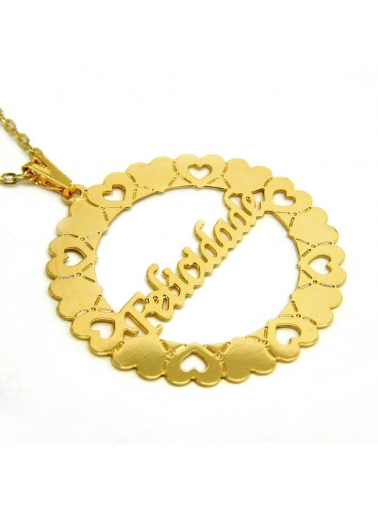 Gargantilha Mandala Felicidade Banho Ouro 18 k - 1060019