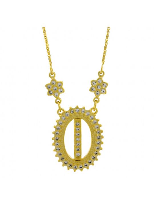 """Colar Letra """" I """" Cravejada Zircônia Banhado Ouro Amarelo 18 K - 1061237"""