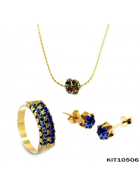 Kit Anel Gargantilha Brinco Banhado Ouro 18 k - KIT10506