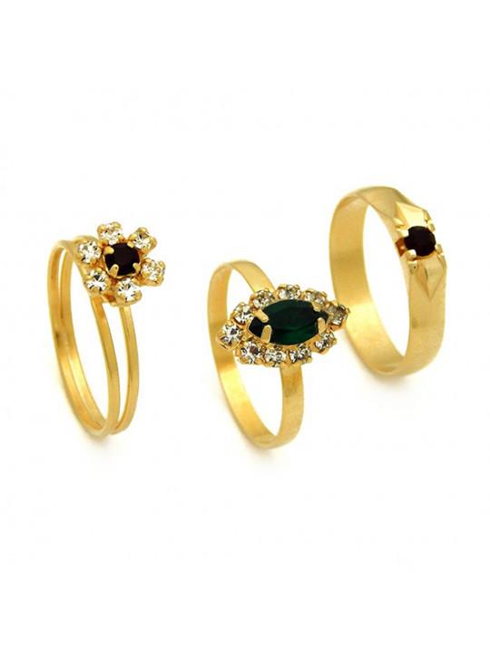 Kit Jasmim com 3 Anéis Banhados Ouro 18 k - KIT10513