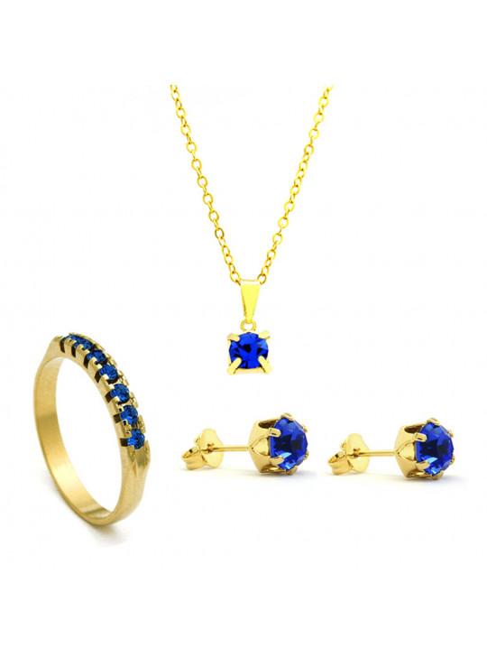 Kit Azul Topázio - Gargantilha Pingente Quadrado - Brincos - Meia Aliança - Banhado Ouro 18k - KIT10519