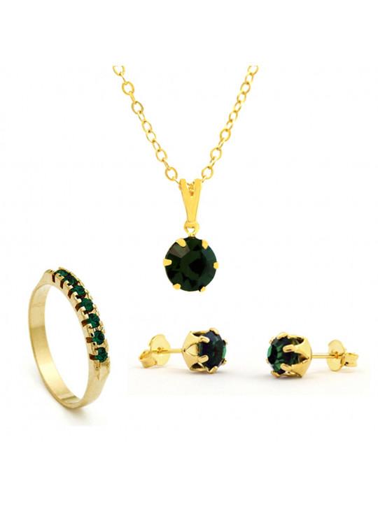 Kit Verde Esmeralda - Gargantilha Pingente - Brincos - Meia Aliança - Banhado Ouro 18k - KIT10522