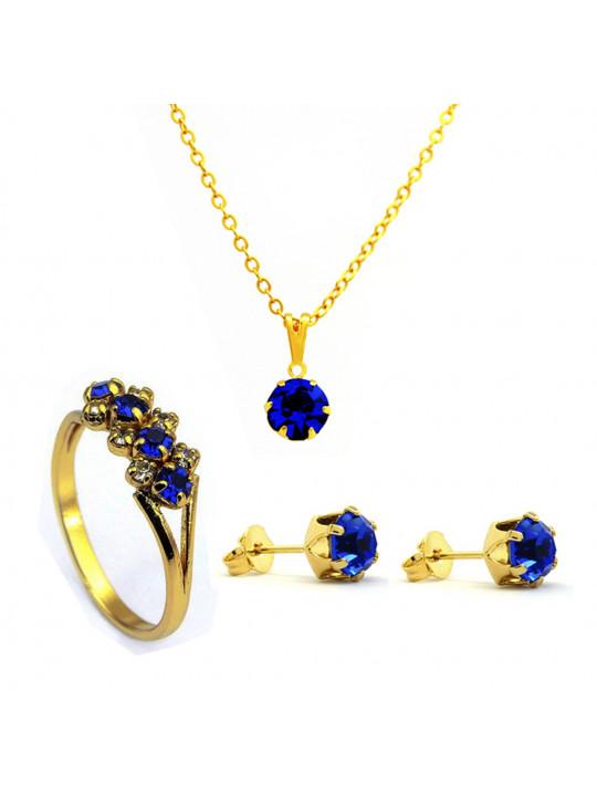 Kit Horus Import Azul Topázio - Gargantilha Pingente - Brincos - Anel - Banhado Ouro 18k - KIT10530