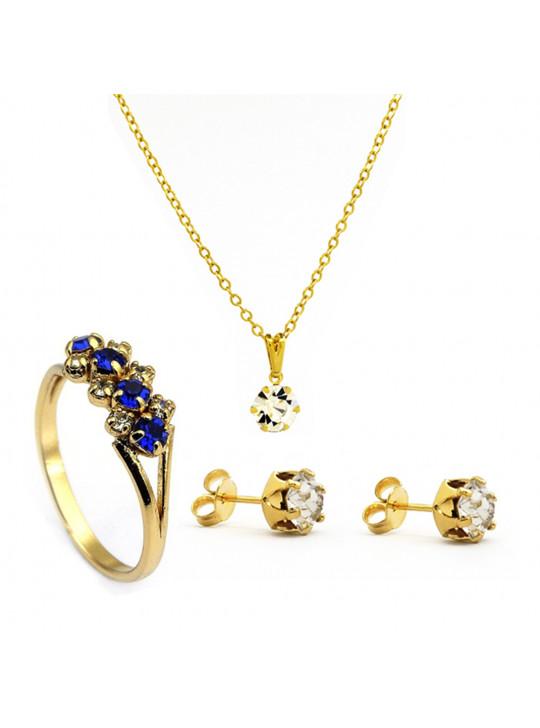Kit Horus Import Cristal - Gargantilha Pingente - Brincos - Anel - Banhado Ouro 18k - KIT10533