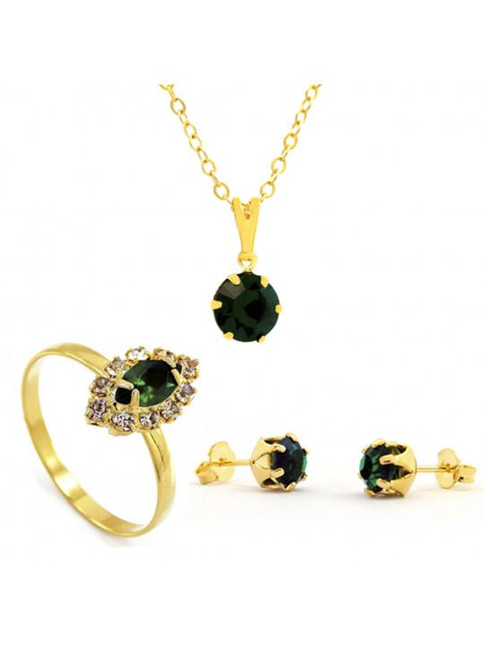 Kit Horus Import Verde Esmeralda Redondo Gargantilha Pingente - Brincos - Anel - Banhado em Ouro 18K - KIT10534