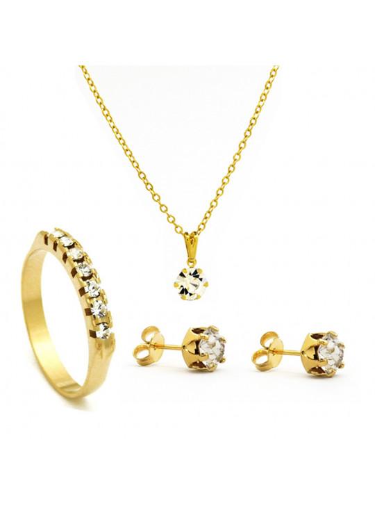 Kit Cristal - Gargantilha Ponto de Luz - Brincos - Meia Aliança - Banhado Ouro 18k - KIT10539