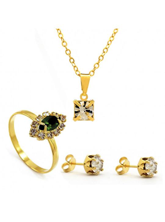 kit Horus Import Cristal Quadrado Gargantilha Pingente - Brincos - Anel - Banhado em Ouro 18K - KIT10545