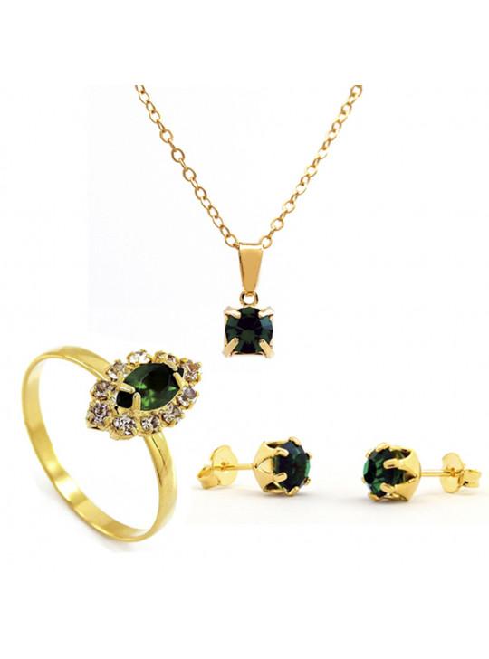 Kit Horus Import Verde Esmeralda Quadrado Gargantilha Pingente - Brincos - Anel - Banhado em Ouro 18K - KIT10546