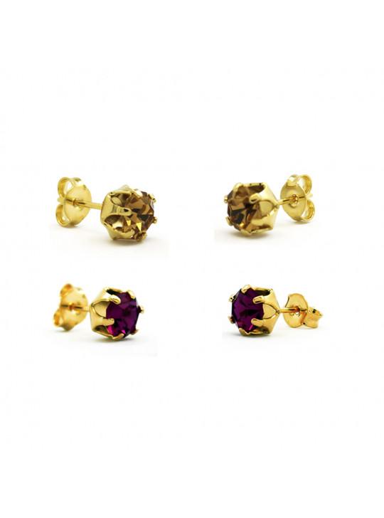 Kit Horus Import 2 Brincos Ponto de Luz - Banhado em Ouro 18 K - KIT10554