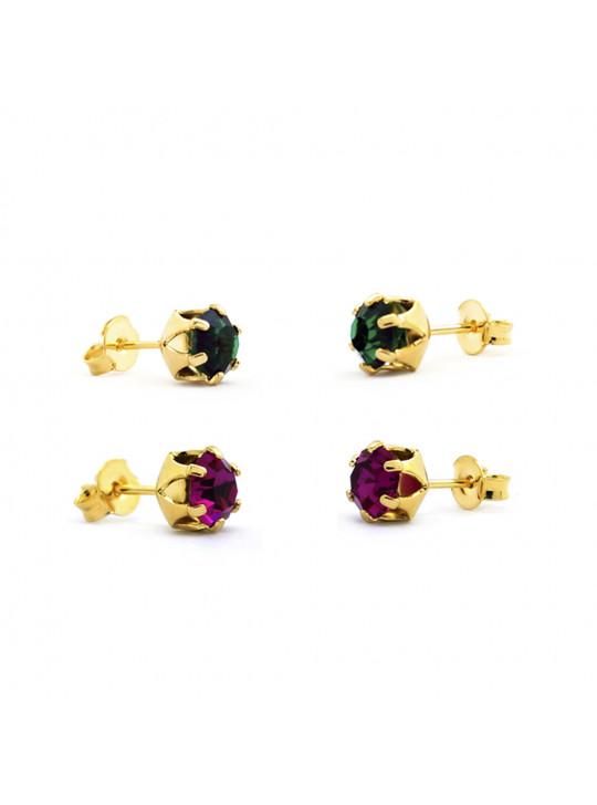 Kit Horus Import 2 Brincos Ponto de Luz - Banhado em Ouro 18 K - KIT10557