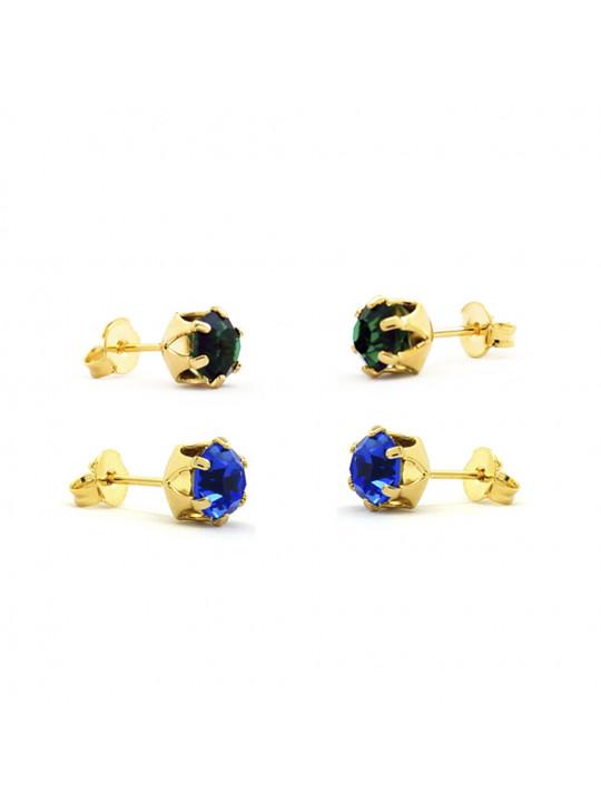 Kit Horus Import 2 Brincos Ponto de Luz - Banhado em Ouro 18 K - KIT10558
