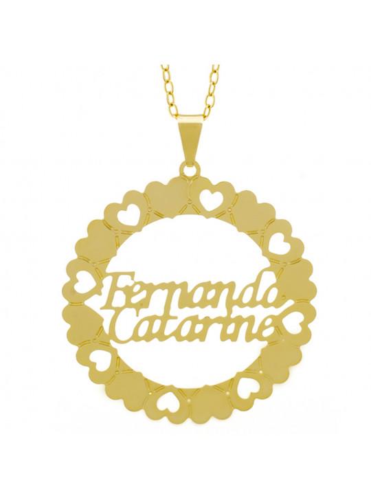 Gargantilha Pingente Mandala Manuscrito FERNANDA CATARINE Banho Ouro Amarelo 18 K - 1061321