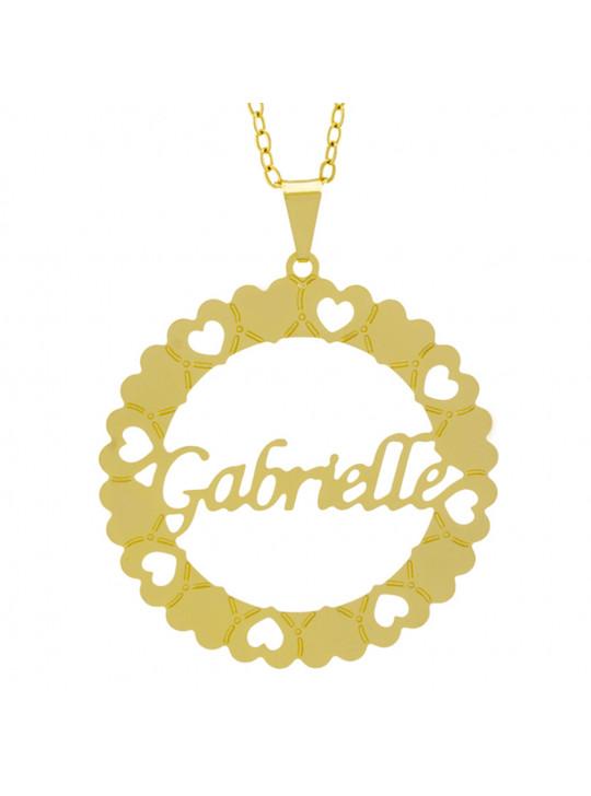 Gargantilha Pingente Mandala Manuscrito Gabrielle Banho Ouro Amarelo 18 K - 1061326