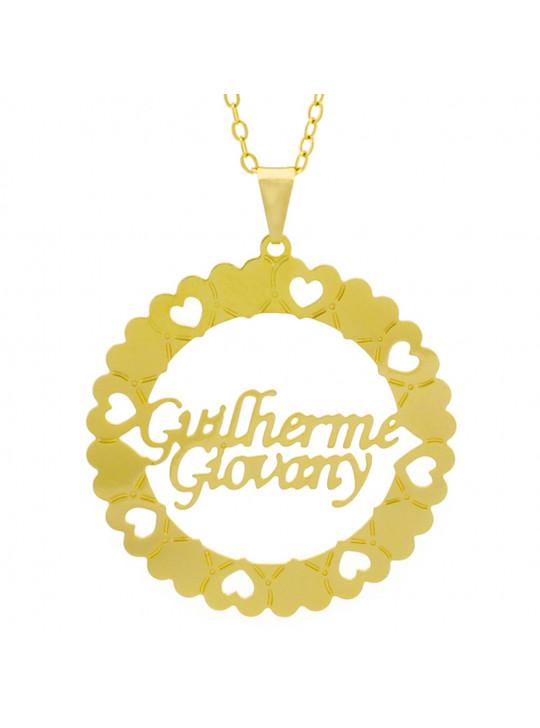 Gargantilha Pingente Mandala Manuscrito Guilherme Giovany Banho Ouro Amarelo 18 K - 1061330