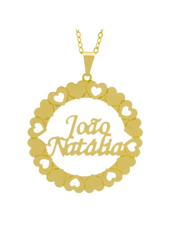 Gargantilha Pingente Mandala Manuscrito JOÃO NATHÁLIA Banho Ouro Amarelo 18 K - 1061341