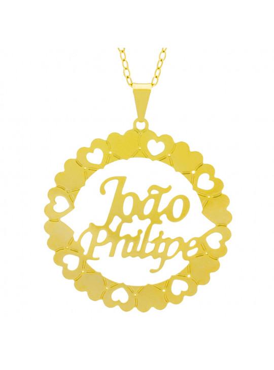 Gargantilha Pingente Mandala Manuscrito JOÃO PHILIPE Banho Ouro Amarelo 18 K - 1061342