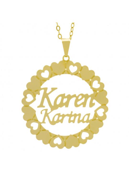 Gargantilha Pingente Mandala Manuscrito KAREN KARINA Banho Ouro Amarelo 18 K - 1061347