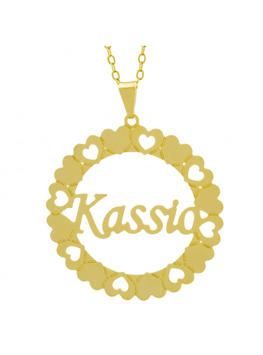Gargantilha Pingente Mandala Manuscrito KASSIO Banho Ouro Amarelo 18 K - 1061348