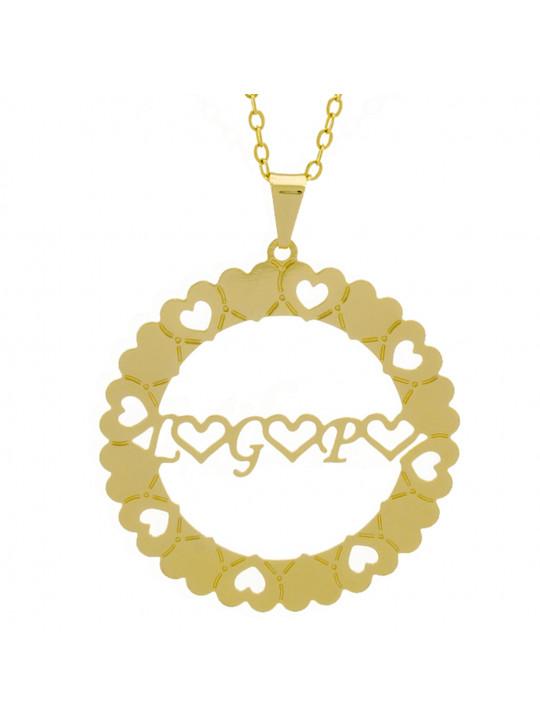 Gargantilha Pingente Mandala Manuscrito L ♥ G ♥ P ♥ Banho Ouro Amarelo 18 K - 1061351
