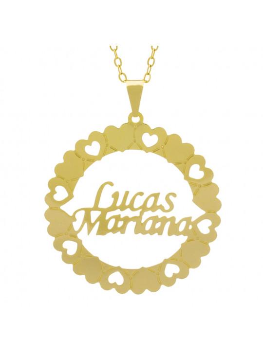 Gargantilha Pingente Mandala Manuscrito LUCAS MARIANA Banho Ouro Amarelo 18 K - 1061363