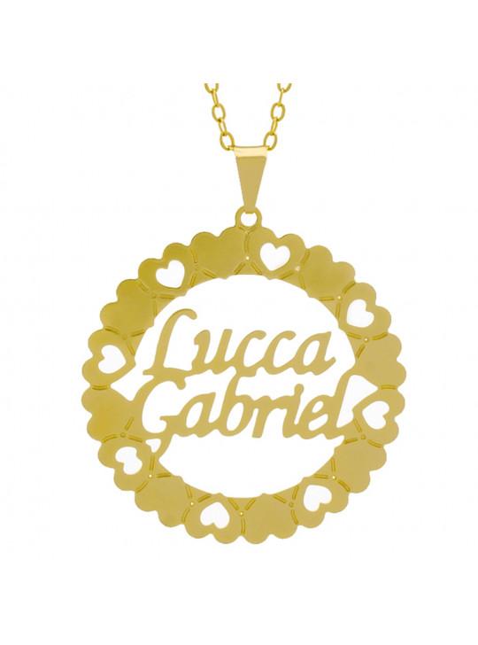 Gargantilha Pingente Mandala Manuscrito LUCCA GABRIEL Banho Ouro Amarelo 18 K - 1061365