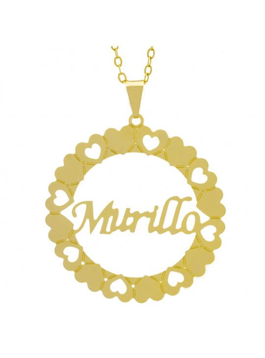 Gargantilha Pingente Mandala Manuscrito MURILLO Banho Ouro Amarelo 18 K - 1061380
