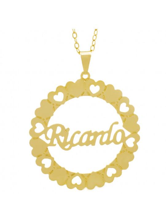 Gargantilha Pingente Mandala Manuscrito RICARDO Banho Ouro Amarelo 18 K - 1061394