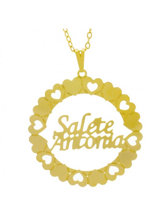 Gargantilha Pingente Mandala Manuscrito SALETE ANTONIA Banho Ouro Amarelo 18 K - 1061396