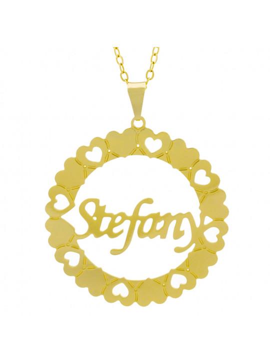 Gargantilha Pingente Mandala Manuscrito STEFANY Banho Ouro Amarelo 18 K - 1061399
