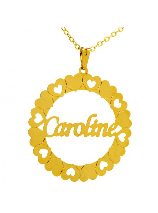 Gargantilha Pingente Mandala Manuscrito CAROLINE Banho Ouro 18 K - 1060073