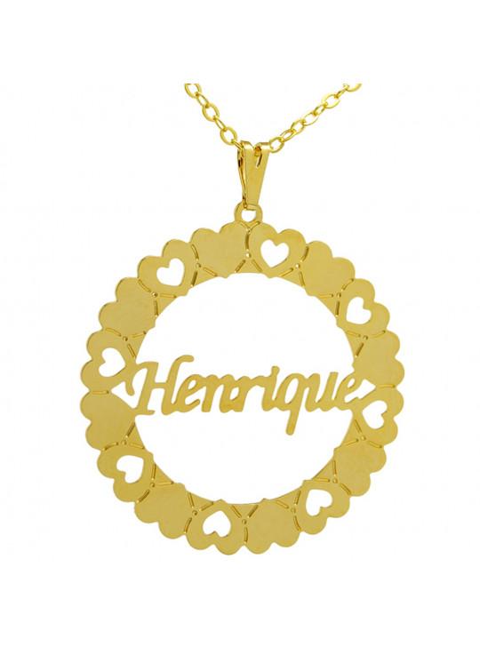 Gargantilha Pingente Mandala Manuscrito HENRIQUE Banho Ouro 18 K - 1060045