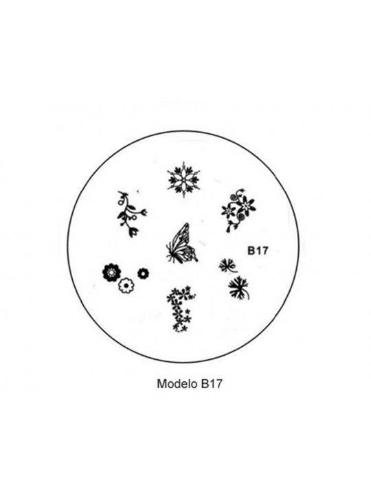PLACA METÁLICA PARA PERSONALIZAÇÃO DE UNHAS - B17 - DESENHOS ARTÍSTICOS - UNH10023