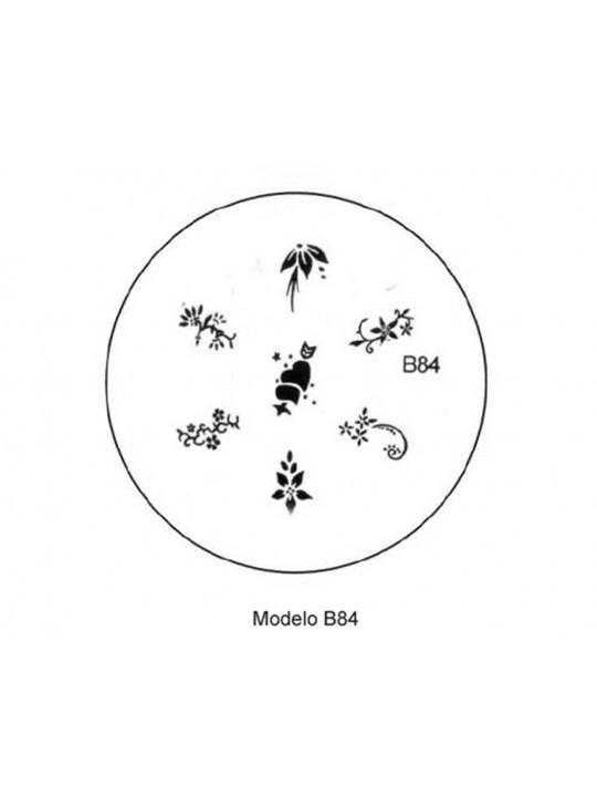 PLACA METÁLICA PARA PERSONALIZAÇÃO DE UNHAS - B84- DESENHOS ARTÍSTICOS -UNH10010