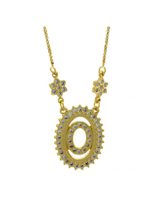 """Colar Letra """" O """" Cravejada Zircônia Banhado Ouro Amarelo 18 K - 1061243"""