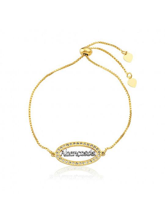 """Pulseira Pingente """"Abençoada"""" Horus Import Banhada Em Ouro Amarelo 18 K - 1080016"""