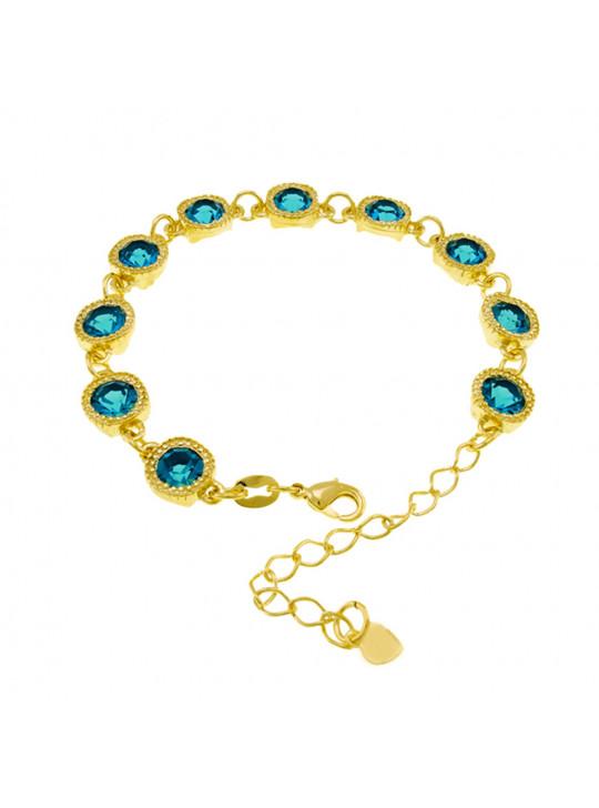 Pulseira Cruzada Aquamarine Banhada Em Ouro 18 K - 1080003