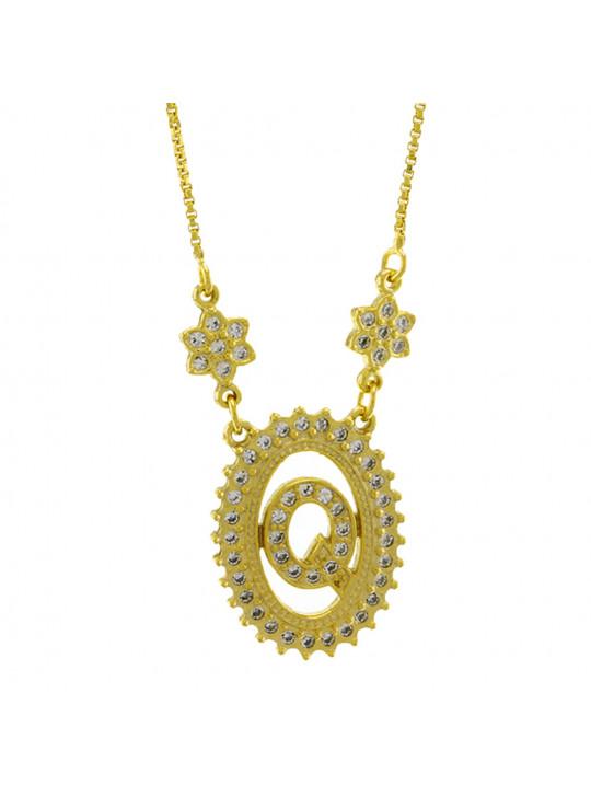 "Colar Letra "" Q "" Cravejada Zircônia Banhado Ouro Amarelo 18 K - 1061245"