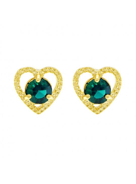 Brinco Ponto Luz Coração Verde Esmeralda Banhado Ouro Amarelo 18 K - 1031124