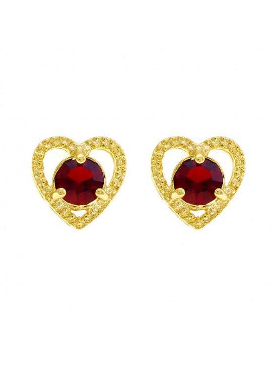 Brinco Ponto Luz Coração Vermelho Rubi Banhado Ouro Amarelo 18 K - 1031126