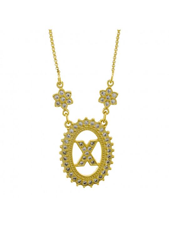 "Colar Letra "" X "" Cravejada Zircônia Banhado Ouro Amarelo 18 K - 1061251"